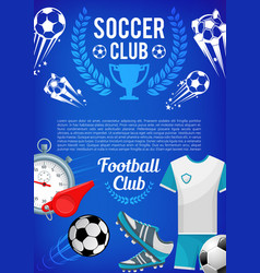 football sport club banner with soccer ball items vector image