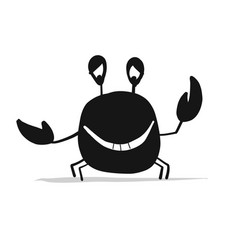 Funny crab black silhouette for your design vector