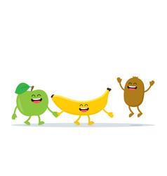 funny fruits characters apple banana and kiwi vector image