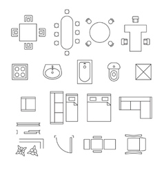 Furniture linear symbols floor plan icons vector