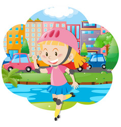 Girl with rollerskate and helmet vector