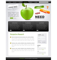 Grey-green website with apple vector