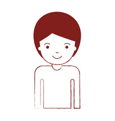 half body man with short hair in dark red blurred vector image