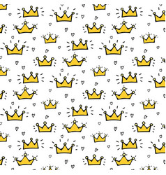 hand drawn crown pattern background vector image