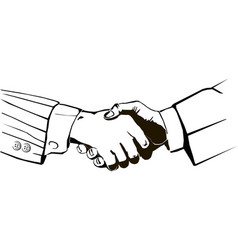 handshake isolated monogram vector image