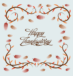 happy thanksgiving floral frames vector image
