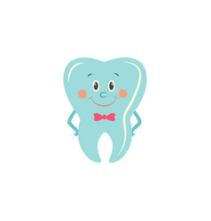 healthy tooth cartoon character with happy smile vector image