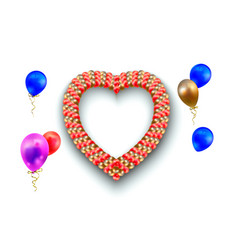 heart frame and balloons on white vector image
