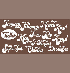 hello month lettering 70s typography vector image