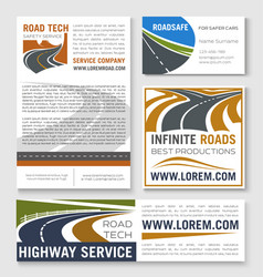 Highway road construction banner template vector