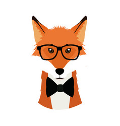 Hipster fox wear bow and glasses fashionable icon vector