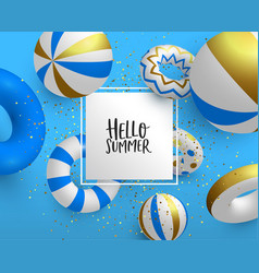 holiday summer card template 3d gold life saver vector image