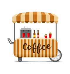 Hot coffee street food cart colorful image vector