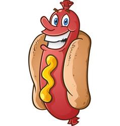 Hot dog smiling cartoon character vector