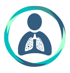 Human silhouette shape icon with sick lungs vector