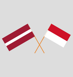 Indonesian and latvian flags vector