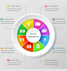 Infographic design template with travel icons vector