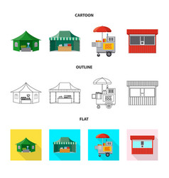 Isolated object of market and exterior sign set vector
