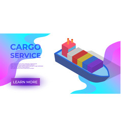 Isometric cargo ship with container flat design vector