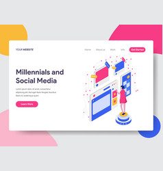 landing page template millennials and social vector image