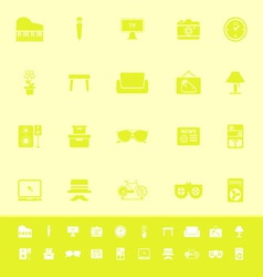 Living room color icons on yellow background vector image