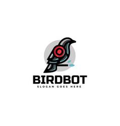 Logo bird robot simple mascot style vector