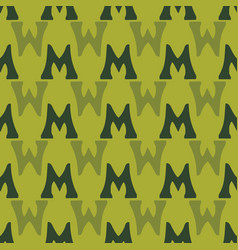 M from alfabet repeat pattern print background vector