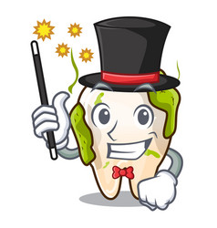 Magician cartoon decayed tooth with dental caries vector