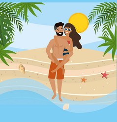 man carrying in back a woman with swimsuit and vector image