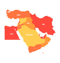 map of middle east or near east in shades of vector image