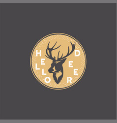 merry christmas lettering hello deer typography vector image