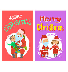 merry christmas santa claus and helper in costume vector image