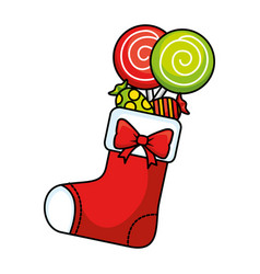 Merry christmas socks decorative with candies vector