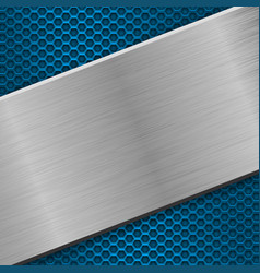 Metal blue perforated background with iron brushed vector