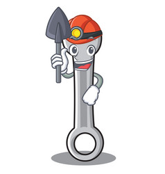 miner spanner character cartoon style vector image