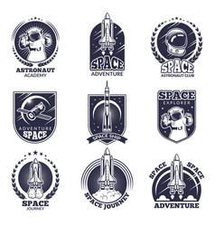 Monochrome labels for astronauts badges vector