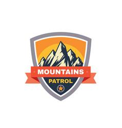 mountains patrol - concept badge climbing logo vector image