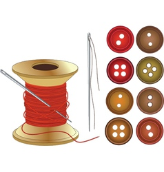Needle Coil of red threads and buttons vector image