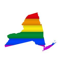 New york lgbt flag map vector