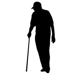 old man silhouette on white vector image
