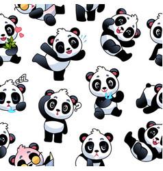 Panda seamless pattern cute little bamboo bears vector