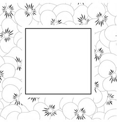pansy flower outline banner card vector image
