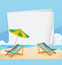 Paper template with chairs on the beach vector