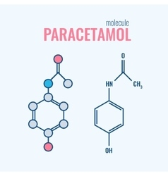 Paracetamol acetaminophen analgesic drug molecule vector image