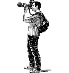 photographer takes picture vector image