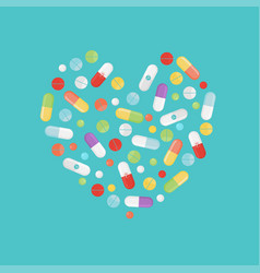 Pills and tablets set isolated on background vector