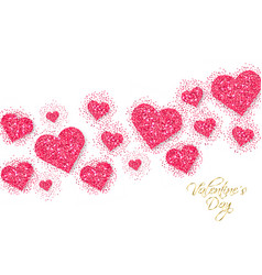 pink glitter hearts valentine day banner vector image