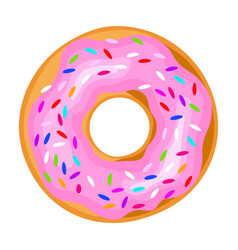 Pink icing donut sweet confectionery vector