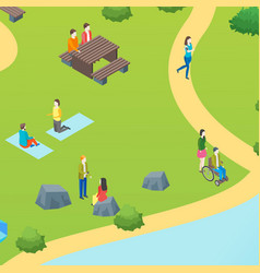 public park with resting people concept card vector image