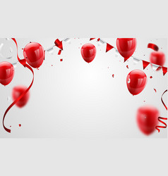 red balloons confetti concept design 17 august vector image